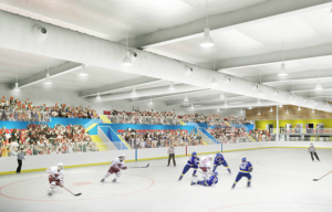 Artists impression of the new Ice arena in the Streatham Hub development