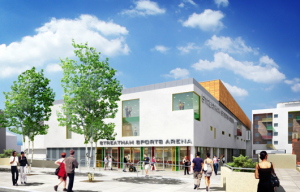 Artists impression of new Leisure centre and Ice rink in Streatham