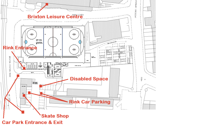 Diagram showing layout of the rink and parking